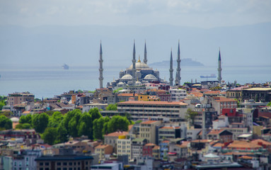 View of the Blue Mosque (Sultanahmet) from the roof of the building in Istanbul