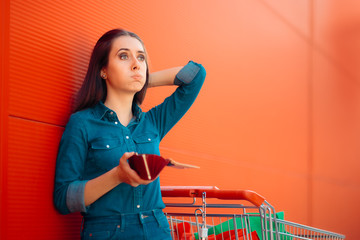 Unhappy Female Customer Having No More Money to Spend