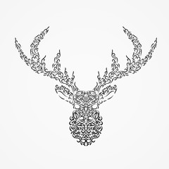 Vector Silhouette of a deer head with horns from ornate shapes.