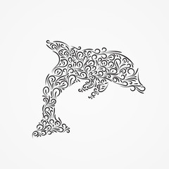 Vector silhouette of a dolphin of ornate forms.