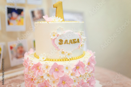 One Year Birthday Cake With Pink Flowers For A Girl