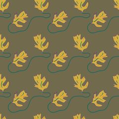 Nahtloses Blatt Muster in pantone Trendfarben 2018, Martini Olive, Ceylon Yellow und Quetzal Green. Vektordatei eps 10
