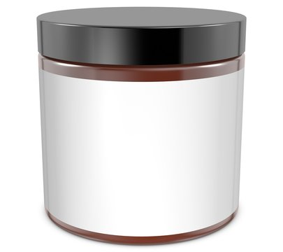 Realistic 3D glass jar rendering mockup on white background