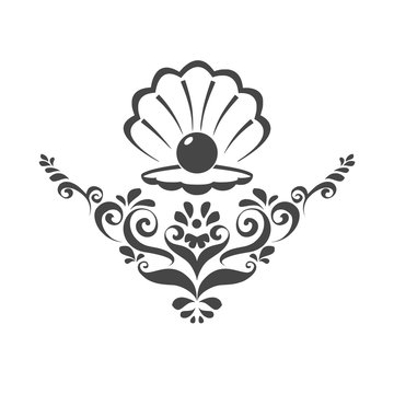 Sea Pearl in open shell, floral ornament illustration