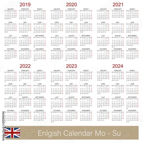 Calendar 2019 2024 English Calendar 2019 2024 Week Starts On