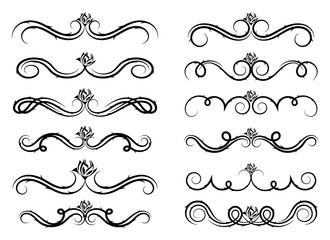 Collection of vector dividers calligraphic style vintage border frame design decorative illustration - Illustration