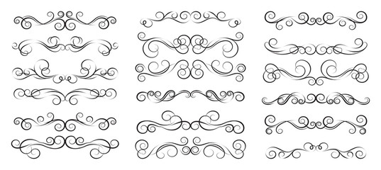 Set of vector calligraphic elements and page decorations - Illustration