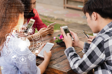 Hands of people use smartphone for connecting to various application, internet of things conceptual
