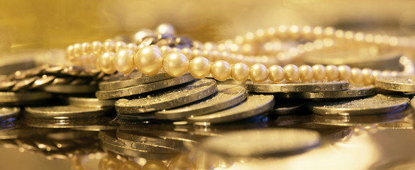 Luxury, wealth, woman shopping concept - web banner of gold money coins and pearls