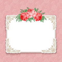 Invitation or greeting card template with roses in retro style. Vector Illustration