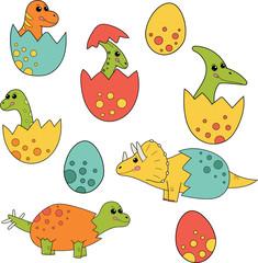 Cute cartoon dinosaurs baby in eggs. Vector set include: Ankylosaurus, Brachiosaurus, Parasaurolophus, Pterodactylus, Spinosaurus, Stegosaurus, Triceratops, Tyrannosaurus Rex.