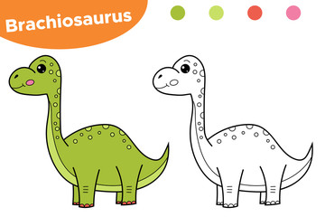 Educational Game For Preschool Kids Printable Coloring Page Book Hand Drawn Character Dinosaur Brachiosaurus