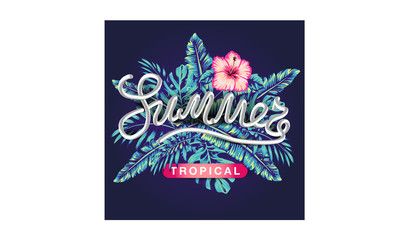 tropical flowers and palms summer banner graphic background