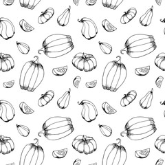 Hand drawn pumpkins pattern.Different kinds of pumpkins.Autumn pattern background. Monochrome, black and white. Vector illustration.