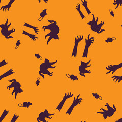 Cat, rat, hand Halloween pattern seamless color
