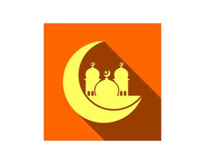 mosque moon islam muslim religion spirituality religious image vector icon