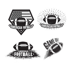 Vector set of american football emblem. Print for t-shirt. Sport illustration