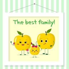 Family of yellow apples smileys, mom, dad and kid in cartoon style. Pictured in a painting that hangs on a striped wall.