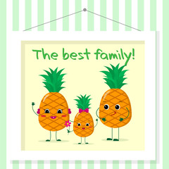 Family of pineapples smileys, mom, dad and kid in cartoon style. Pictured in a painting that hangs on a striped wall.