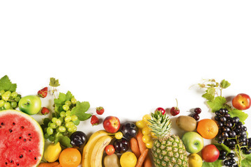 Assorted fruits on isolated background Wall mural