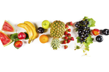 Foto auf Acrylglas Fruchte Assorted fruits on isolated background