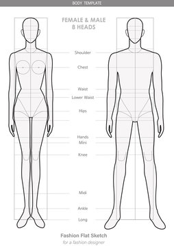 Body template Fashion FLAT SKETCHES technical drawings FEMALE & MALE 8 HEADS