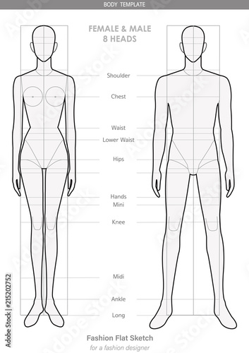 Body Template Fashion Flat Sketches Technical Drawings Female Male