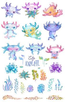 Watercolor cute axolotl characters for kid's design