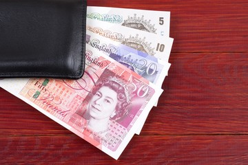 British Pounds in the black wallet