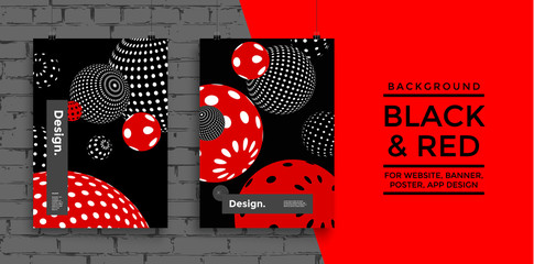 Black and Red decorative balls with dots. Abstract vector illustration. Web page and app template. Applicable for Banners, Placards, Posters, Flyers. Eps 10 Vector