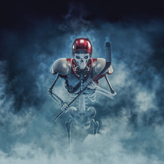 The phantom hockey player / 3D illustration of scary skeleton with ice hockey stick, helmet and shoulder pads emerging through smoke