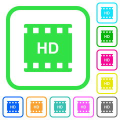 HD movie format vivid colored flat icons