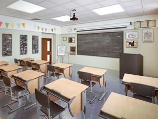 school classroom interior 3d illustration