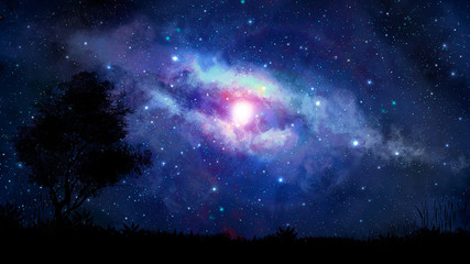 Space scene. Blue milky way with tree silhouette. Elements furnished by NASA. 3D rendering