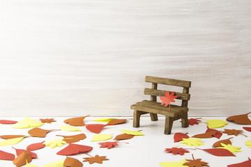 秋 季節 落ち葉 ベンチ