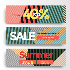 Set of three different Sale banner with fantastic discount. Vector illustrations for website and mobile website banners, posters, email and newsletter designs, ads, coupons, promotional material.