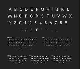 Font with soft corners, linear sans serif alphabet, modern white letters, universal font for fashion, advertising, banners, poster, journals, logos, cards and est. Uppercase ABC signs, symbols and num