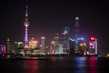 Shanghai cityscape by night in China