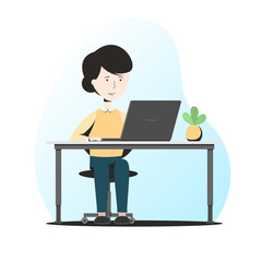 Business woman at her Desk working on the computer. Vector illustration in fashionable flat style isolated on white background