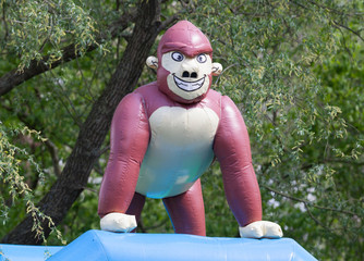 Inflatable gorrila on a bouncing castle