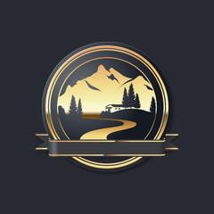 Goldenes Vektor Icon mit Hütte in den Bergen mit Banderole