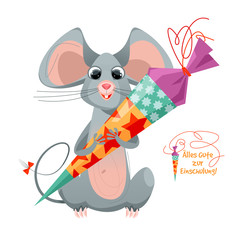 Mouse holding traditional German candy cone in the paws on the first school day. Alles Gute zur Einschulung! (Happy Enrollment!)