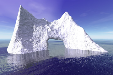 Iceberg, a polar landscape, reflection in the sea and a blue sky.