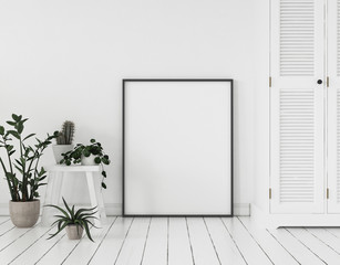 Mock-up poster frame with plants and cupboard standing near wall, Scandinavian style, 3d render