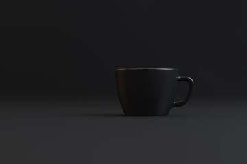 a cup of strong coffee on a black background
