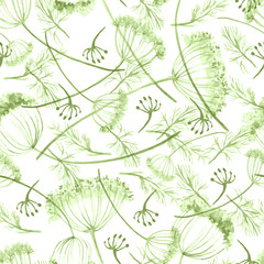 Vintage seamless watercolor pattern of plants. Herbs, flowers, dried flowers, green flowers watercolor. Beautiful stylish floral background for paper, material, fabric.