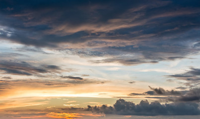 Dark dramatic clouds during the sunset. Sky, background, workpiece for design_
