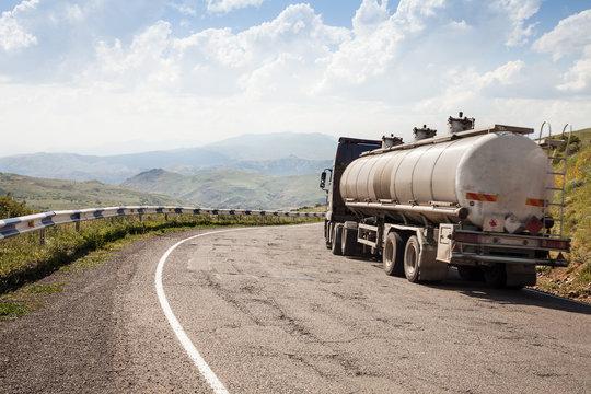 Tank Truck, Tanker on Highway Mountain Road, Transportation