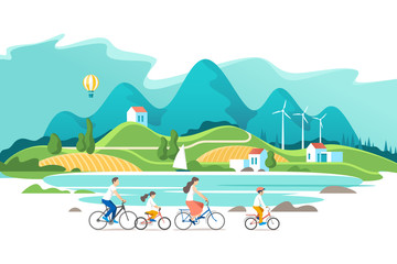 Summer vacation. Family are riding on bicycles on the natural landscape background. Vector illustration.