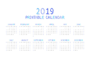 Children's funny calendar for 2019 in blue.